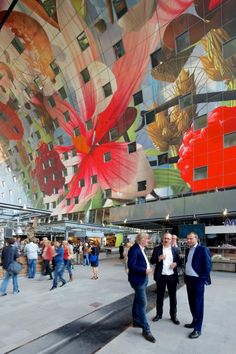 Markhal Rotterdam, Netherlands by MVRDV. Unlike any other market in the world, the Markhal presents a new urban hybrid that unites a market hall with housing.