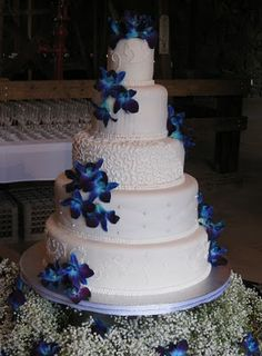 The flowers aren't quiet right, but with my flowers I chose for the wedding it would be perfect. However, I would prefer it to be two tier. Maybe make some of the icing decorative blue.