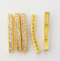 Gold Sidways Curver Metal Bracelet Connector Bar by BijiBijoux, $3.95