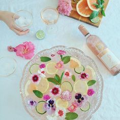 Rosé punch: rosé which is slightly sweet mixed with sparkling water, fresh lemon and grapefruit juice, a splash of lemonade and some muddled mint. the combination is subtly sweet, a little tart and super easy to drink! via @designlovefest