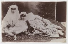 Women Posing with Bouquets, One of 274 Vintage Photographs Artist: Antoin Sevruguin Medium: Albumen silver photograph Dates: Late 19th century Dynasty: Qajar