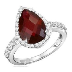 '2.5 Carat Pear Shaped Garnet Ring With Crystal Accents' is going up for auction at  5pm Fri, Apr 5 with a starting bid of $8.