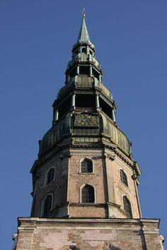 Church Tower in Riga, Latvia Riga Latvia, Cool Backgrounds, Pisa, San Francisco Ferry, Photographs, Tower, Sky, Building, Travel