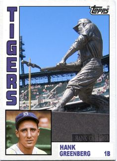 1984 Topps Hank Greenberg Statue, Detroit Tigers, Baseball Cards That Never Were.