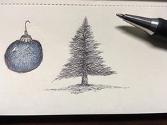 Feelin' excited about getting our Christmas tree soon! Couple small sketches I did today. #drawing #illustration #ballpoint #pine #pinetree #sketch #zebrapen #moleskine