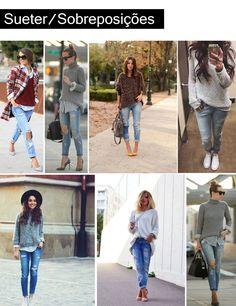 Destroyed Jeans com Sueter/Sobreposições