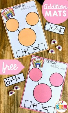 Rainbow Addition Mats – The Stem Laboratory Addition is a skill that is best re… - Vorschule und Schule Preschool Math, Math Classroom, Teaching Math, In Kindergarten, Kindergarten Addition, Math For Kids, Fun Math, Material Didático, Eureka Math