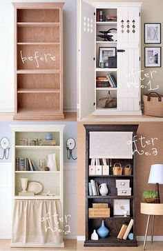 bookcase before & afters. My favorite is #3. Where would i find one of these bookshelves?