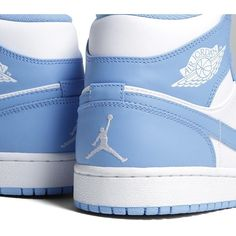 Nike Air Jordan I Mid 'UNC' ($155) ❤ liked on Polyvore