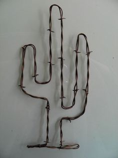 "Rusty Barb Wire 11"" Tall Saguaro Cactus ~ Rustic Western Southwest Home Decor"