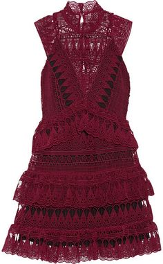 Self-Portrait - Tiered Guipure Lace Mini Dress - Burgundy