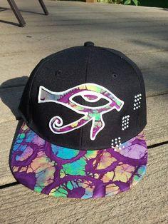 Egyptian Eye of Ra Tie-Dye Custom Hat with UV Glow Paint 02045bd41df6