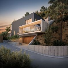 12 Unique Modern House Architecture Style - We seek happiness Architecture Design, Modern Architecture House, Residential Architecture, Modern House Design, Mountain Home Exterior, Hillside House, Facade House, House Facades, Madrid Barcelona