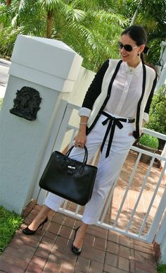 Susana Fernandez | A Key to the Armoire <Black and white + Longchamp Roseau + ribbon belt + chiffon blouse + Ralph Lauren + Bloomingdales + cropped white pants>