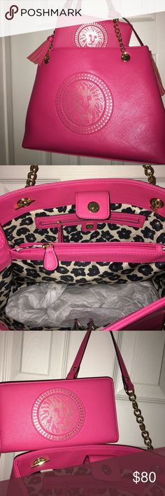 "Anne Klein bag and wallet Hot pink ""Leo Legacy"" pocketbook and matching wallet. Like new!! Anne Klein Bags Shoulder Bags"