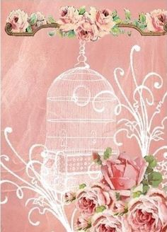 Beautiful birdcage with rose corner and top accents