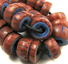 Old RARE Color Brick Red Awale Chevron Venetian Glass African Trade Beads  These beads are usually grayish blue.