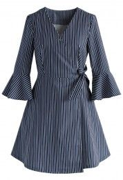 City Muse Wrapped Shirt Dress in Stripes - New Arrivals - Retro, Indie and… Striped T Shirt Dress, Cotton Shirt Dress, Long Shirt Dress, Cotton Dresses, Wrap Tie Dress, Wrap Shirt, Simple Dresses, Casual Dresses, Dresses With Sleeves