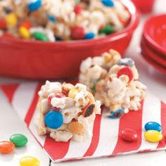 Popcorn bars/balls with m&m's & nuts added -- use pink marshmallows to make it a perfect Valentine's day treat!