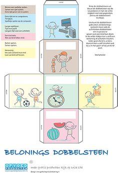 Gratis Beloningssysteem dobbelsteen voor kinderen. Hiermee bepaalt u verschillende beloningen, Laat het kind dobbelen en zie wat voor beloning hij of zij krijgt. | Klik op de afbeelding om naar de download te gaan.