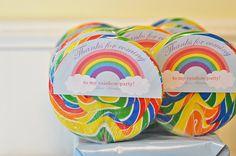 Shabby Chic Princess Tea Party / Birthday Party via Kara's Party Ideas - www. Rainbow Birthday Decorations, Rainbow Party Favors, Rainbow Lollipops, Rainbow Parties, Rainbow Birthday Party, Rainbow Theme, 3rd Birthday Parties, Birthday Ideas, Lollipop Party