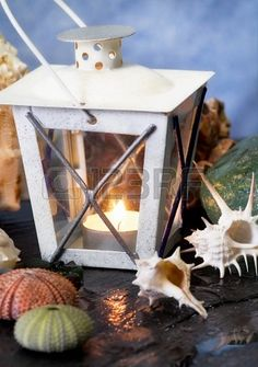 summer concept with vintage lantern and seashells Stock Photo