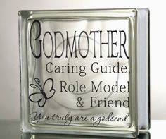 Glass Block Vinyl Decal DIY Godmother Friend Role Model Godsend Tile mirror