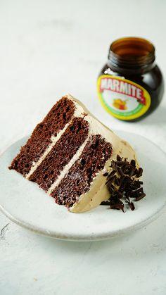 This cake has a secret ingredient and it's Marmite. This cake has a secret ingredient and it's Marmite. Cake Icing, Buttercream Cake, Eat Cake, Dessert Oreo, Dessert Recipes, Marmite Recipes, Mousse Au Chocolat Torte, Cake Recept, Chocolate Shavings