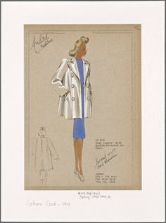 Boxy topper with double-breasted effect. 30s Fashion, Womens Fashion, Capes & Ponchos, Dress Sketches, Fashion Design Drawings, New York Public Library, Picture Collection, Designs To Draw, Double Breasted