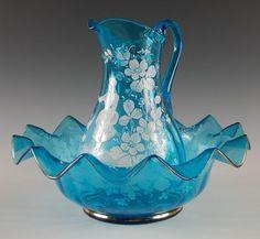 Victorian Art Glass Bowl & Pitcher Set With Enamel Deco