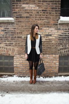 leather sleeve blazer and Frye boots   amomentofmadness.com