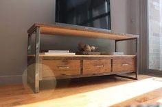 mesa tv hierro y madera