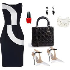 Black White and a little Red for style ! Chic Outfits, Dress Outfits, Fashion Outfits, Womens Fashion, Dresses, White Chic, Black White, Church Fashion, Church Attire