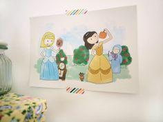 Ilustración Cuentos confundidos Cenicienta y por milowcostshop Cinderella and Beauty, Confused tale. A cute draw funny and with a backward history