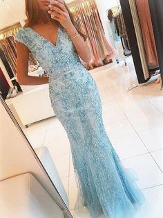Charming Evening Dress,Luxury Beaded Sleeveless V Neck Prom