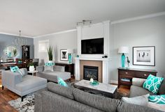 My new living room wall color! Steveston Character Home - contemporary - family room - vancouver - The Spotted Frog Designs-Benjamin Moore Stonington Gray, feature wall Pewter Living Room Turquoise, Teal Living Rooms, Living Room Color Schemes, Beautiful Living Rooms, Living Room Colors, New Living Room, Home And Living, Living Room Decor, Modern Living