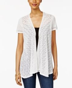 Style & Co Petite Mixed-Media Open-Front Cardigan, Only at Macy's - White P/XL