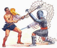 A gladiator fighting retiarius style (with net). In Lex Arena, you can play retiarius with Lucius.
