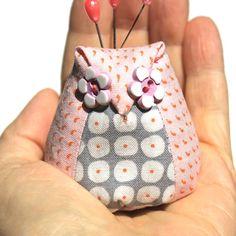 Owl Pincushion Stuffed Fabric Owl Sewing Accessory Pink Owl