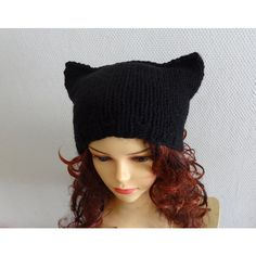 Cat Ears Hat Cat Beanie Chunky Knit Winter Accessories Animals Hat cat... ($30) ❤ liked on Polyvore