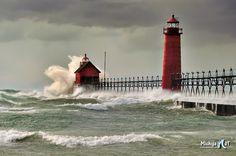 Natures Fury Grand Haven Lighthouse, Lake Michigan
