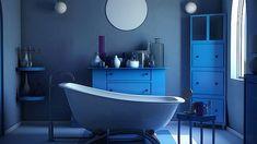 Atemberaubende und coole blaue Badezimmer-Design-Ideen – bathroom ideas – Stunning and cool blue bathroom design ideas – bathroom ideas – Bad Inspiration, Bathroom Inspiration, Bedroom Walls, Blue Bathtub, Blue Bathrooms Designs, Blue Accent Walls, Blue Vanity, New Paint Colors, Room Tiles