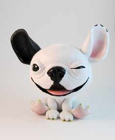 Awesome Frenchie modded Stitch vinyl figurine! French Bulldog Gifts, French Bulldog Art, French Bulldogs, Clay Animals, Zoo Animals, Bulldog Clipart, Frenchie Pug, Dog Sculpture, Clay Figures