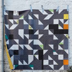 Grey Geese - modern quilt in grey, green, white and bits of yellow. Grey Goose, Quilt Labels, Patches, Quilts, Blanket, Black And White, Yellow, Sewing Ideas, Projects