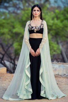 Shop Prathyusha Garimella - Black lehenga set with mint green cape Latest Collection Available at Aza Fashions Cape Lehenga, Black Lehenga, Lehnga Dress, Anarkali, Lehenga Choli, Bridal Lehenga, Indowestern Lehenga, Green Lehenga, Patiala Salwar