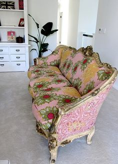 vintage sofa reupholstered in Raoul fabric
