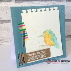 My trusty little kingfisher is making an appearance again, I just love him! Bees Knees, Watercolor Techniques, Just Love, Stamping, Happy Birthday, Cards, Handmade, Happy Brithday, Hand Made