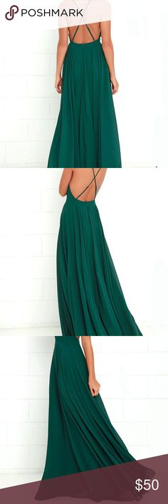 "Maxi dress dark green Selling 1 of ""The Mythical Kind of Love"" Dark Green Maxi Dress. Only worn once for a wedding. No tears, stains, etc. Practically new! Has a fitted bodice with princess seams and an apron neckline supported by adjustable spaghetti straps that crisscross atop a sultry open back. Able to adjust straps to allow more side to show. Hidden back zipper with clasp. Perfect for any event! Super classy and elegant. Will definitely get compliments! Lulu's Dresses Maxi"
