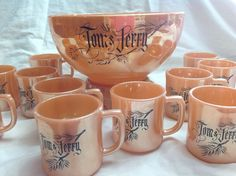 Vintage Fire King Anchor Hocking Peach Luster 14 Pc Tom and Jerry Punch Bowl/Cup