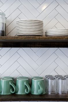 herringbone tile. Love the white with the rustic wood.